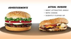 Comparing fast food advertisements to reality
