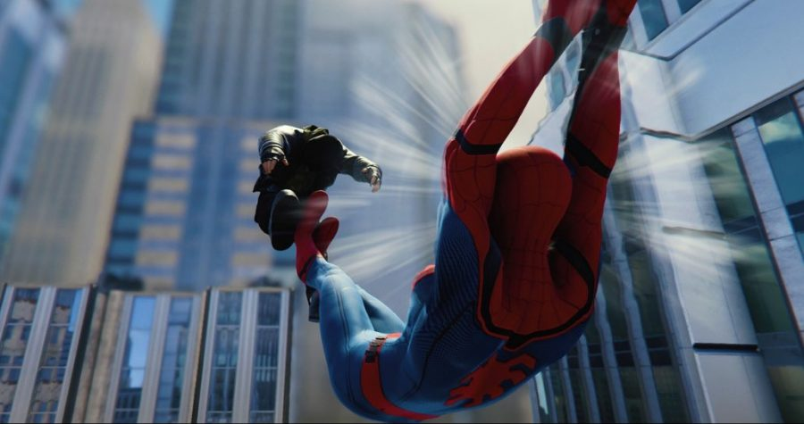 A picture of Spider-Man defending his city taken from within the game.