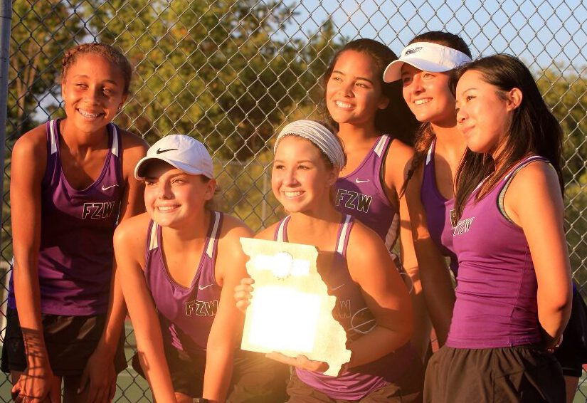 Girls tennis 5-2 district win against against Wentzville Liberty High School.