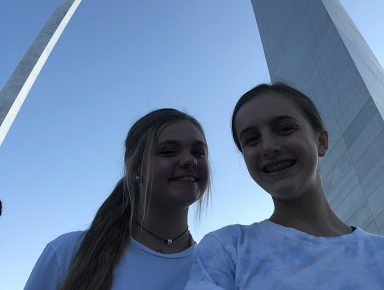 "Sophomores Grace Cooper and Kylie Orbin spent the Fourth of July Downtown at the Arch. They enjoyed listening to the music and watching the fireworks. ""The Arch is a great place to go because of the beautiful view,"" Cooper said. ""I like going up in the egg-shaped elevators."""