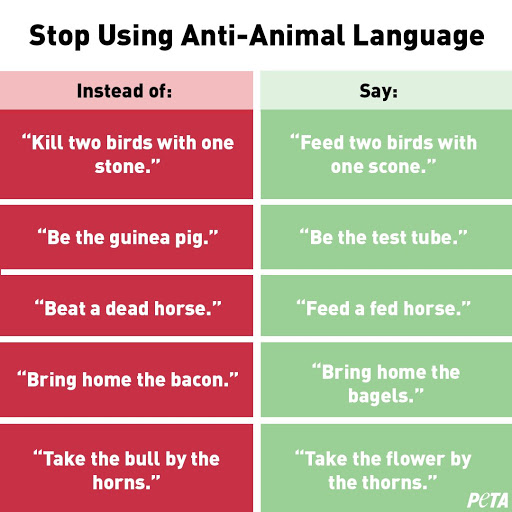PETA has started a campaign to change common phrases so people change the way they speak about animals.
