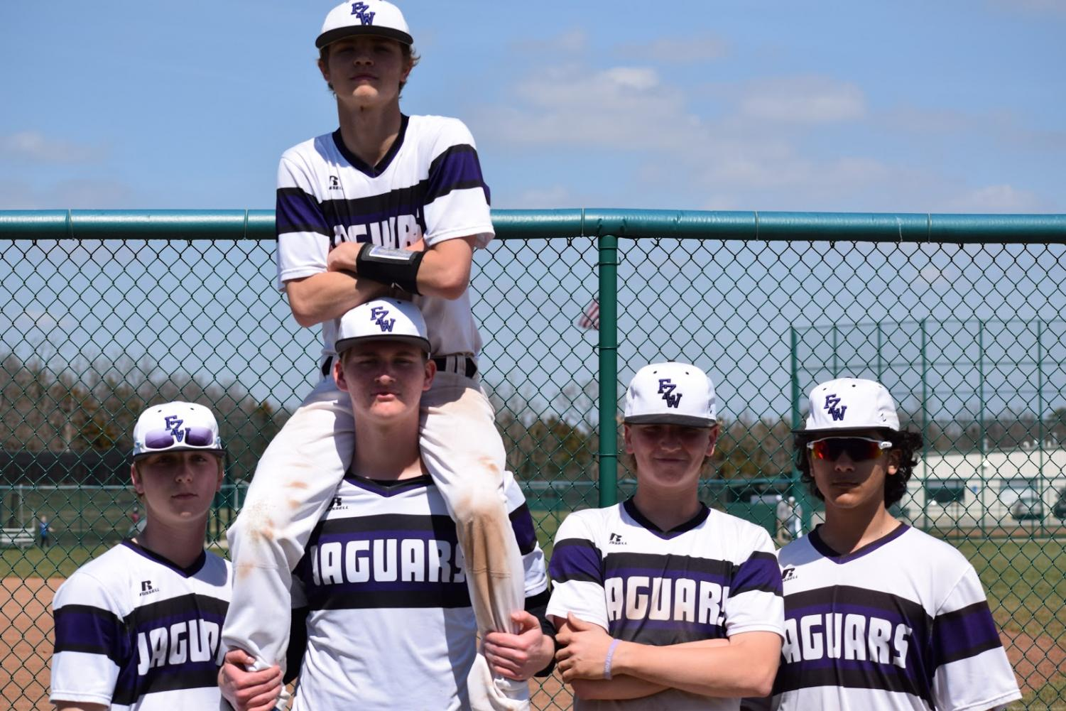 Sophomores Jacob Turner, Noah Hargraves, Tanner Perry, Jack Standley and Jericho Badwan pose for a picture.