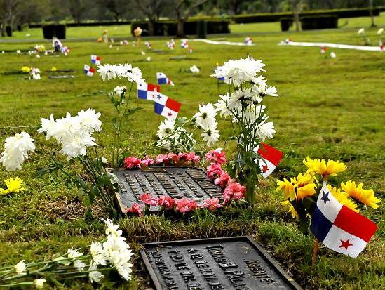 The graves of Meder's father and oldest brother in El Parque del Recuerdo located in Las Cumbres, Panama.