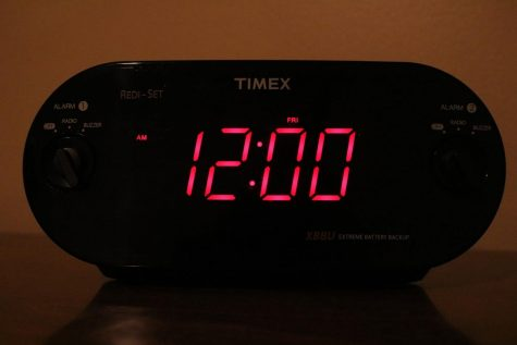 An alarm clock that displays the bedtime of most students.