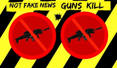 "The graphic includes the popular term ""fake news"" and relates it to gun violence."