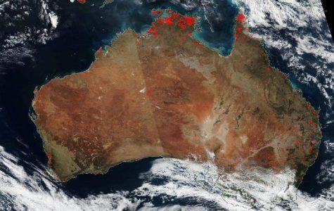 Large bush fires captured by NASA satellite NOAA
