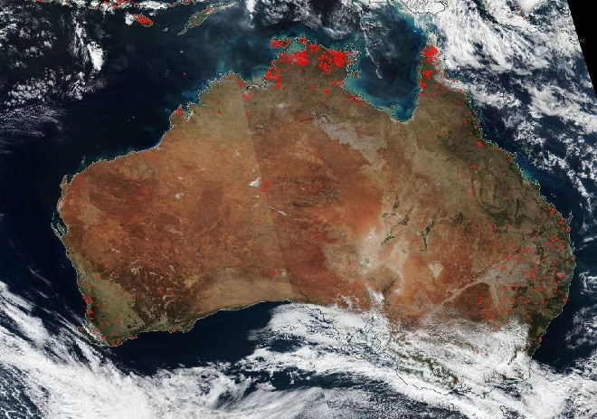 Large bush fires captured by NASA satellite NOAA