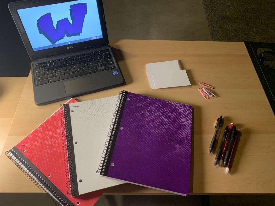 Freshman Gabby Shoults' virtual learning workspace. Photo provided by Gabby Shoults.