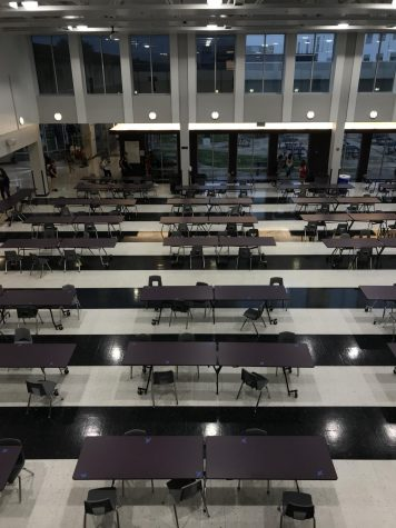 """Cafeteria seats are now marked for people to sit in the mornings and lunches. The five lunches insure that there are less people in each lunch so that students have less contact. """"It is difficult for students to find places to sit with their friends because there is a five people to a table rule. Especially as it gets colder outside students are going to find more difficulties finding tables for them and their friends to sit at."""", sophomore Julianna Kuhlman said."""