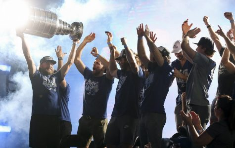 The Tampa Bay Lightning celebrates their victory of the Stanley Cup
