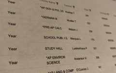 A student schedule with AP and honors classes.