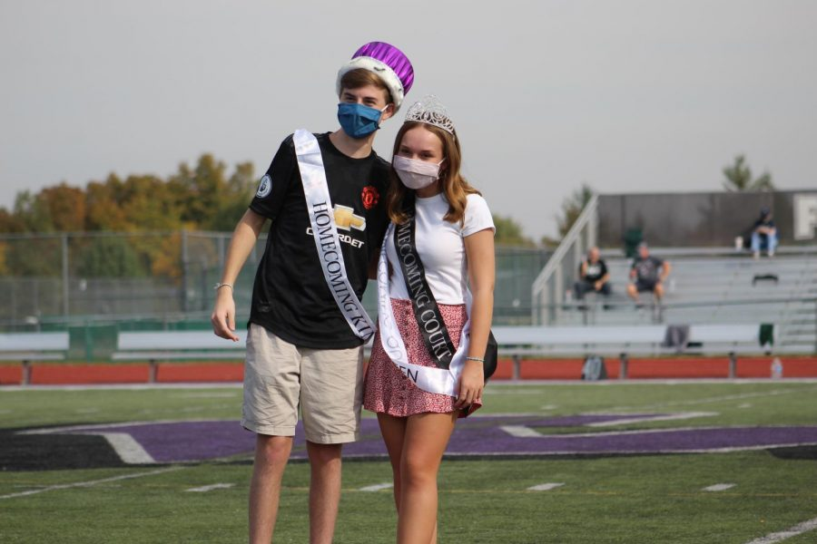 Seniors Julia Spalding and Tim Guccione crowned as Homecoming King and Queen for the senior class.