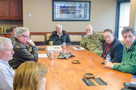"""Missouri Governor Mike Parson visits St. Joseph to assess flood preparation"" by 139AW is marked with CC PDM 1.0"
