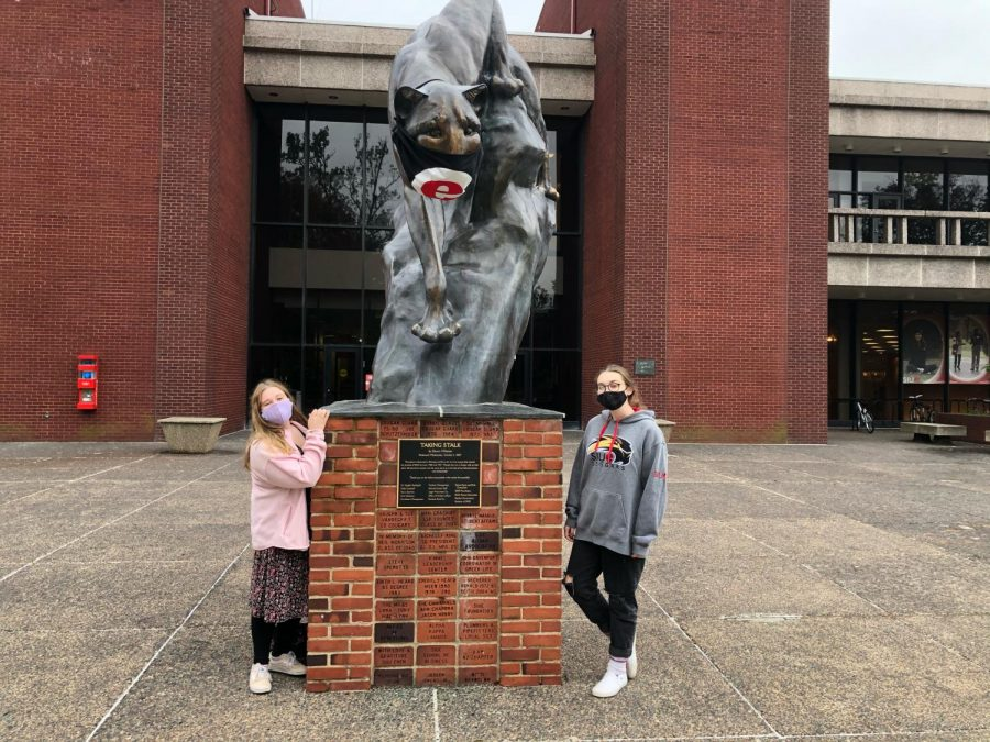Riley Mooney with Maisy Garrison on a college visit at Southern Illinois University Edwardsville.