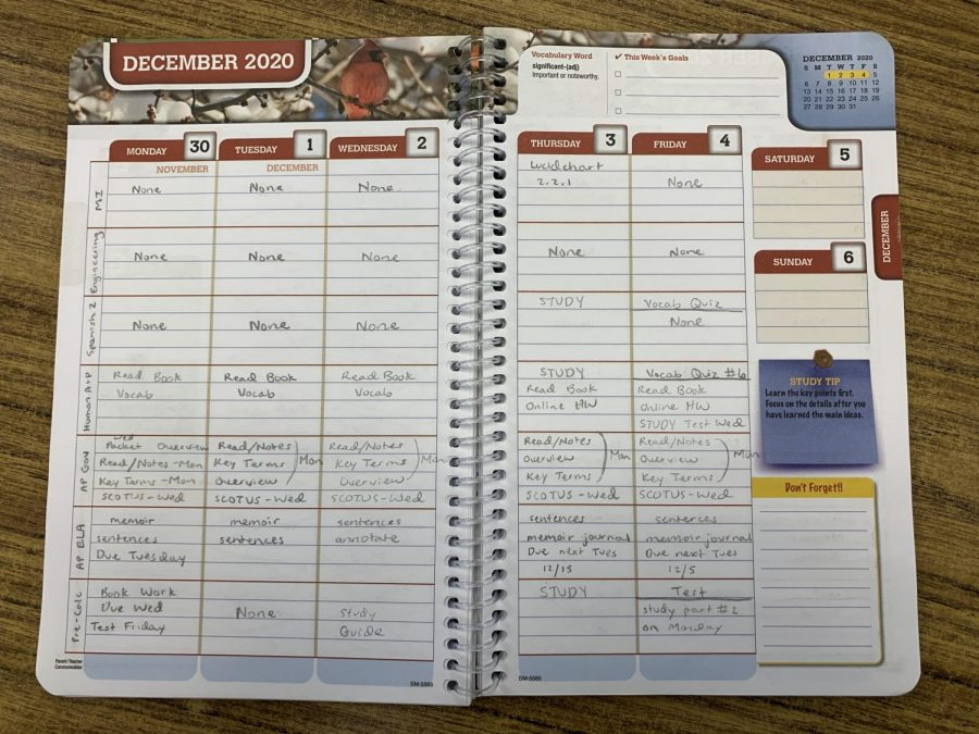 Junior Katie Burnes keeps organized by using a planner.