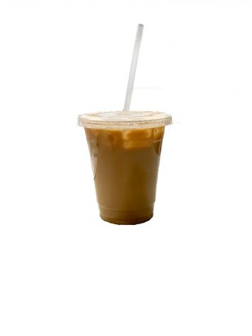 The coffee counter offers many flavors, including this vanilla iced coffee.
