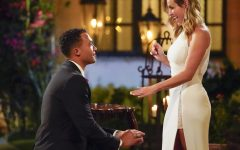 Clare Crawley and Dale Moss are seen in the show the Bachelorette as Moss pops the question.